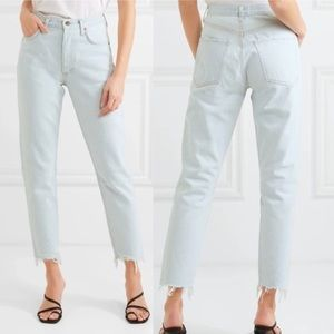 """Agolde """"Jamie"""" Distressed Cropped High Rise Jean"""